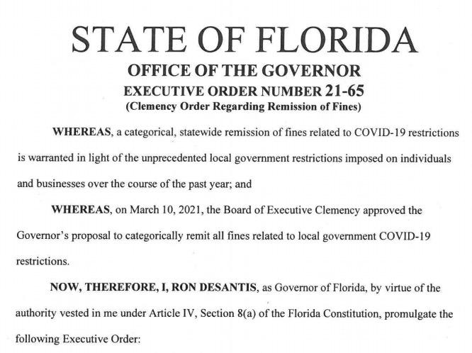 Ordre exécutif n° 21-65 du gouverneur de Floride