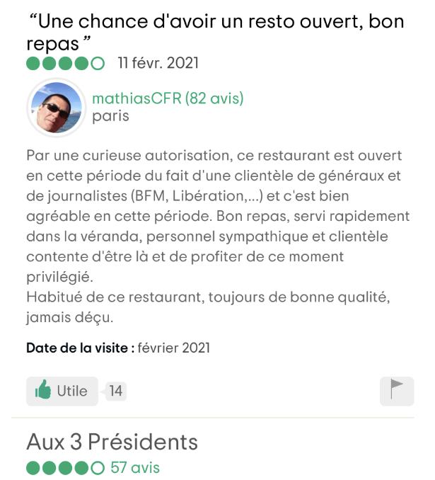 """Avis sur TripAdvisor au sujet du restaurant """"Aux 3 Présidents"""""""
