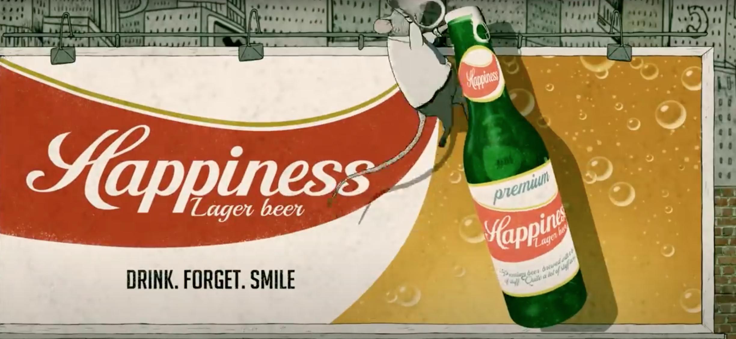 Le bonheur, c'est pas ce qu'on croit, un dessin animé de Steve Cutts