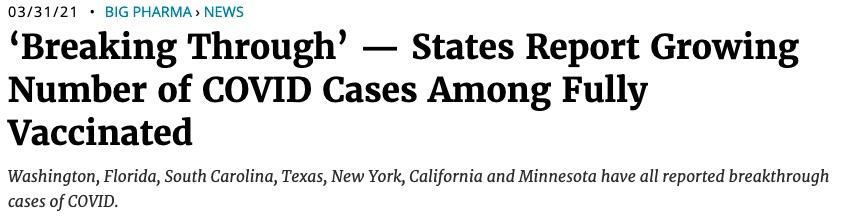 Cas de Covid-19 reportés parmi des personnes vaccinées