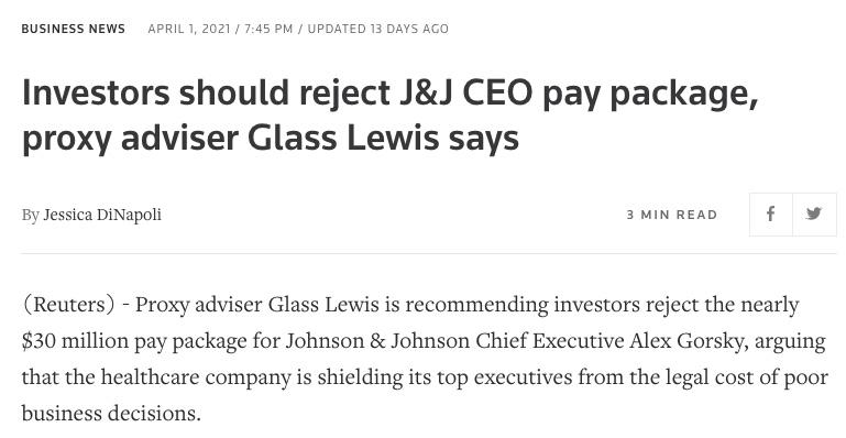 Rémunération de Glass Lewis CEO de Johnson & Johnson