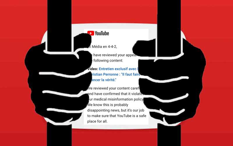 YouTube nous répond non, l'entretien avec le Pr Perronne ne peut vraiment pas être diffusé