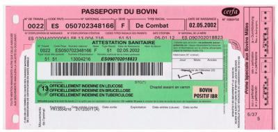Certificat de vaccination bovin