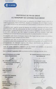 Protocole de fin de grève à l'aéroport de Cayenne Félix Eboué